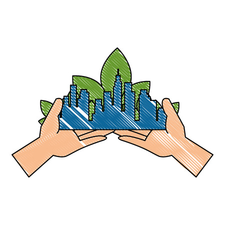 hands lifting green city buildings and leafs vector illustration design