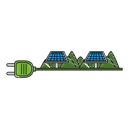 Enchufe de energía verde con paneles solares, diseño de ilustraciones vectoriales