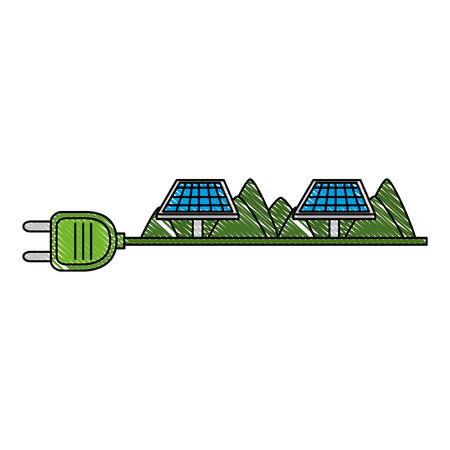 green energy plug with solar panels vector illustration design 스톡 콘텐츠 - 115075879