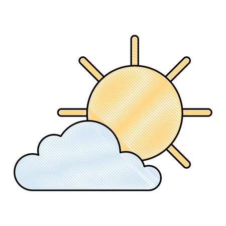 cloud with sun weather icon vector illustration design Illustration