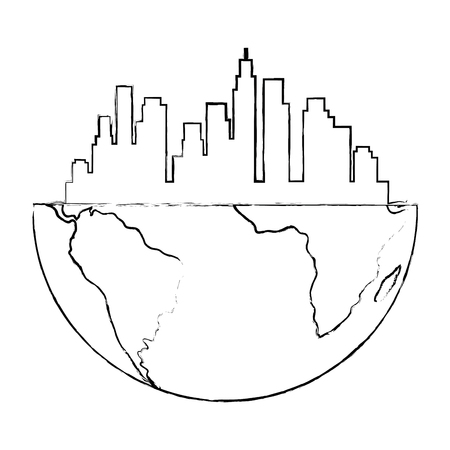 half world with buildings cityscape vector illustration design