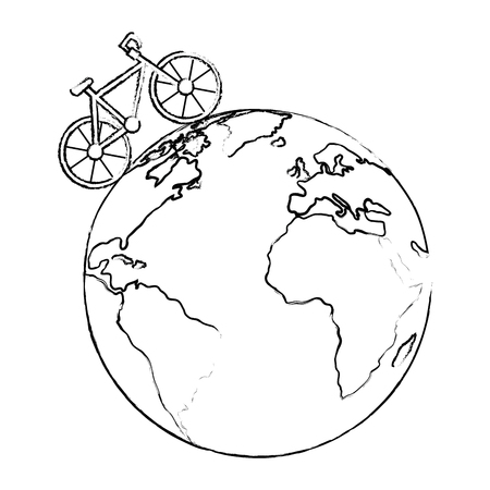 world planet earth with bicycle ecology vector illustration design