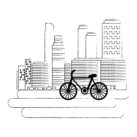 green city buildings with bicycle vector illustration design