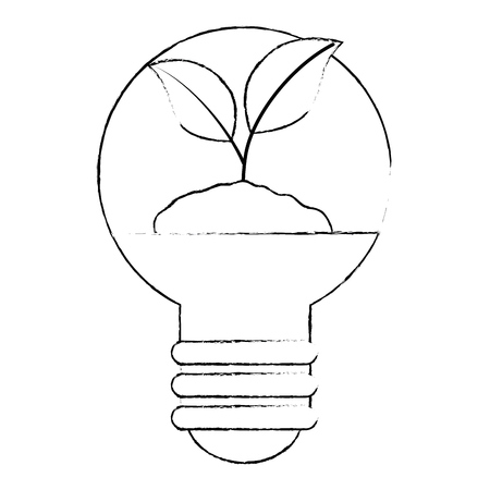 plant and ground inside bulb ecology vector illustration design