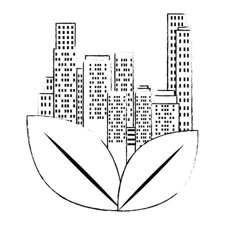 green city buildings and leafs vector illustration design Archivio Fotografico - 115075911