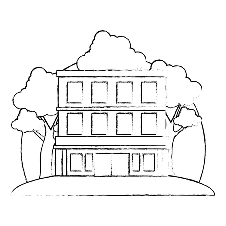 building hotel facade with tree vector illustration design