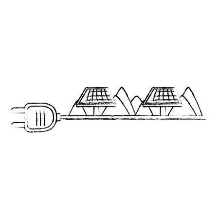 Prise d'énergie verte avec des panneaux solaires vector illustration design