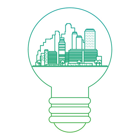green city inside bulb vector illustration design