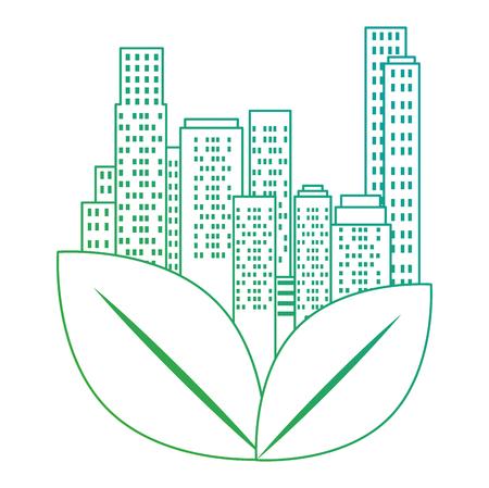 Edificios de la ciudad verde y hojas, diseño de ilustraciones vectoriales
