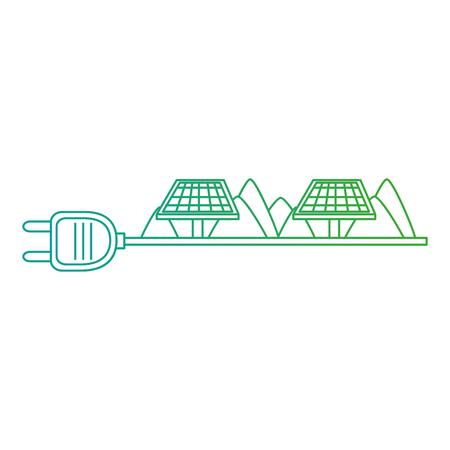 green energy plug with solar panels vector illustration design