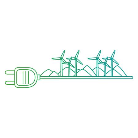 groene energie plug met turbines energie vector illustratie ontwerp