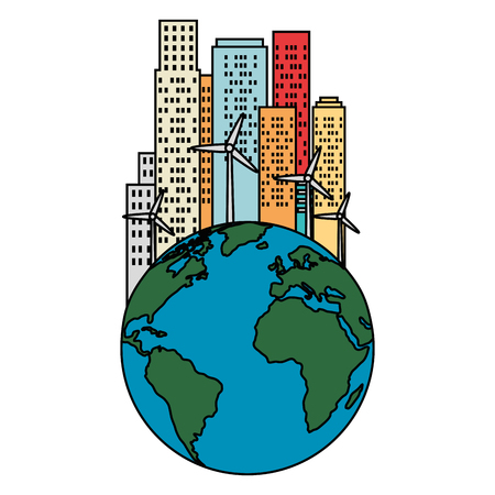world with buildings cityscape vector illustration design