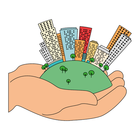 hands lifting half world with buildings vector illustration design  イラスト・ベクター素材