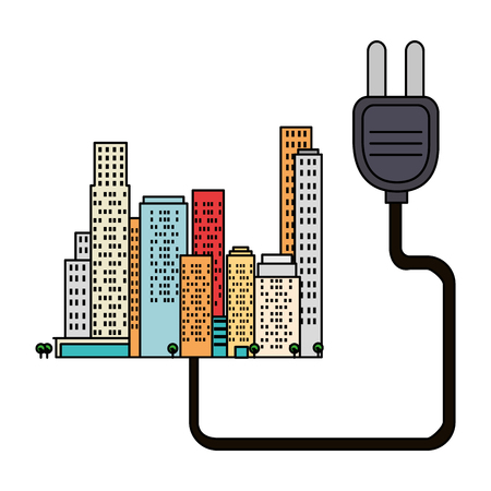 green city buildings with energy plug vector illustration design Ilustração