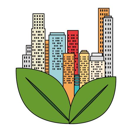 green city buildings and leafs vector illustration design Archivio Fotografico - 115075965