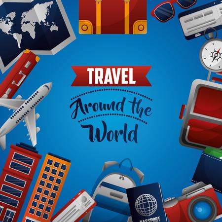 travel around the world hotel airplane suitcase passport vector illustration