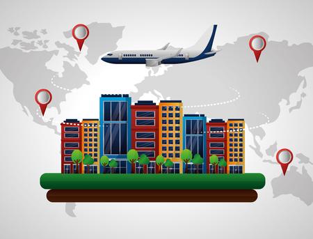 world map pointer location airplane hotels city vector illustration Illustration
