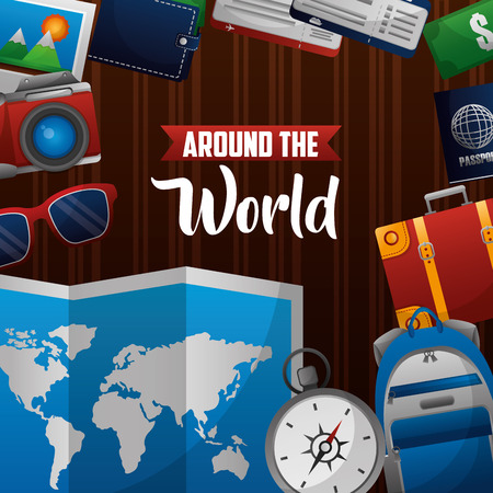 around the world map compass backpack suitcase sunglasses wallet vector illustration