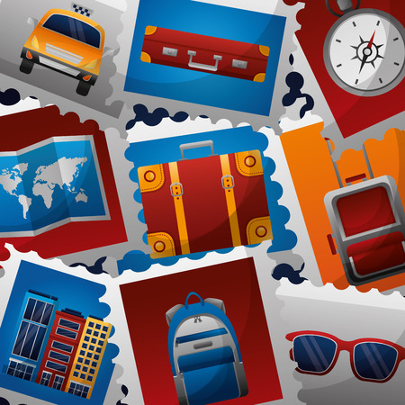 travel postage stamps sunglasses suitcase map hotel vector illustration