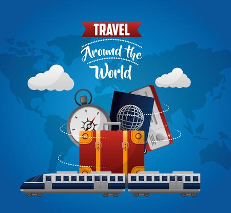 travel around the world train suitcase passport ticket compass vector illustration Illustration