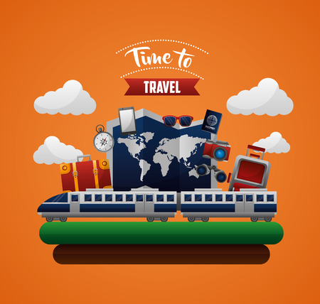 time to travel train map world suitcases camera vector illustration