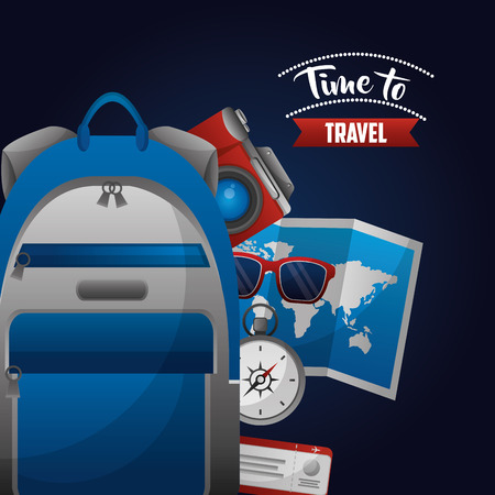 time to travel backpack map compass sunglasses camera tickets vector illustration Illustration