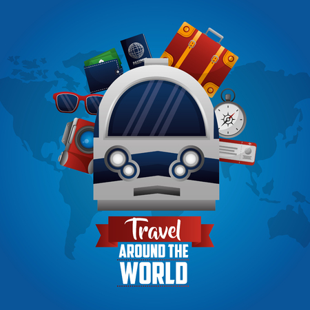 travel around the world train suitcase camera sunglasses ticket vector illustration