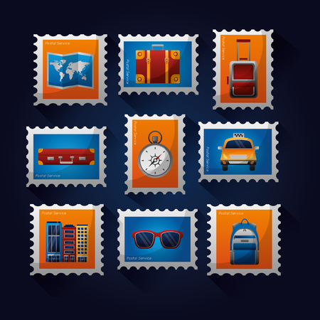 postage stamps travel taxi suitcase hotel map vector illustration