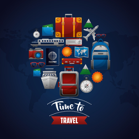 time to travel vacation tourism relax vector illustration