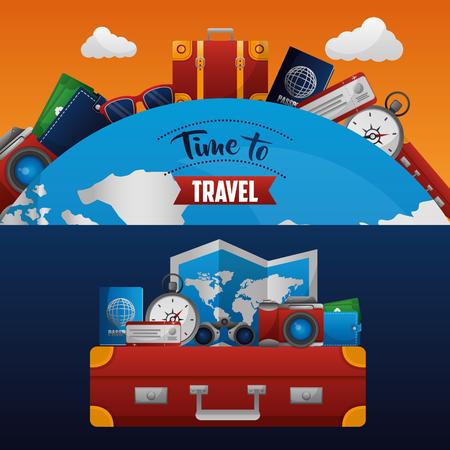 time to travel suitcase world map passport camera ticket vector illustration Archivio Fotografico - 115013453