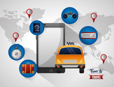 smartphone taxi service app travel tourism vector illustration