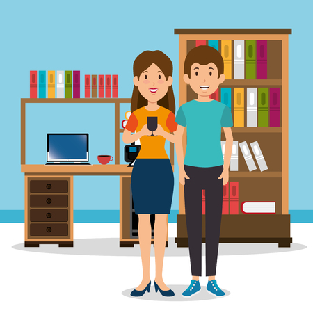 young couple in the workplace office vector illustration design