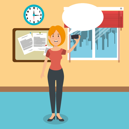 young businesswoman in the workplace office vector illustration design