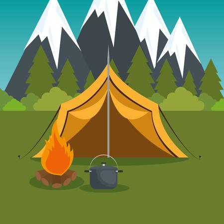 Zona de acampada con carpa y fogata, diseño de ilustraciones vectoriales