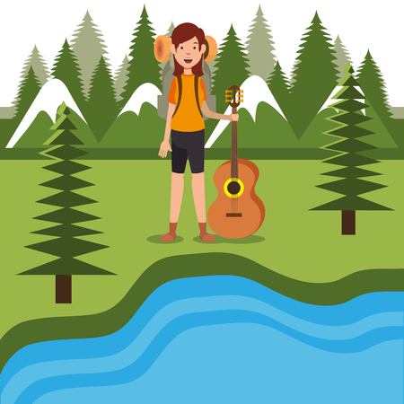 young woman scout in the camping zone scene vector illustration design Illustration