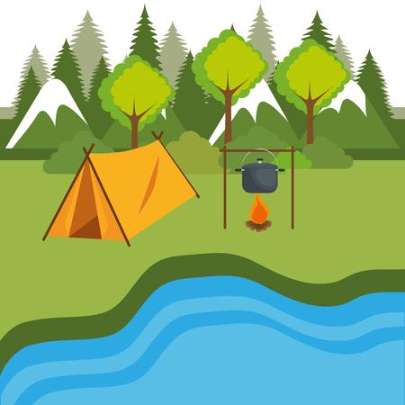 camping zone with tent scene vector illustration design Ilustração