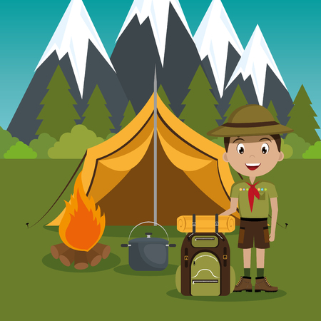 young scout in the camping zone scene vector illustration design Illustration