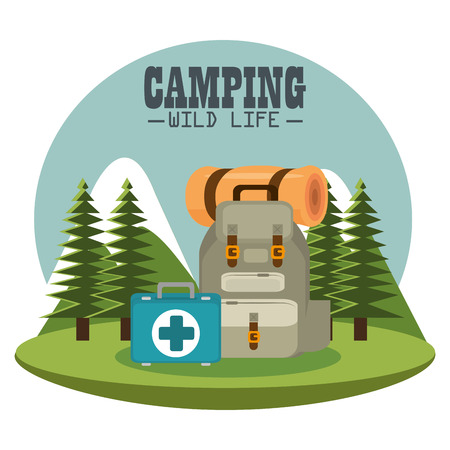 camping zone with equipment vector illustration design Иллюстрация