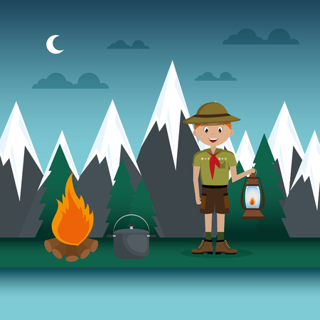 young scout in the camping zone scene vector illustration design Ilustração