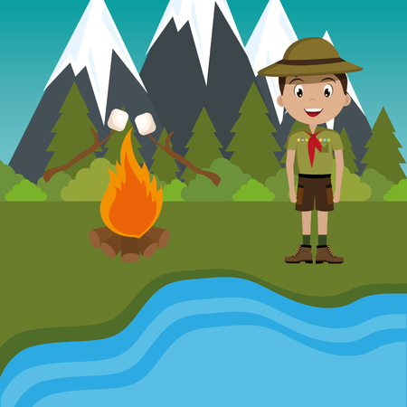 young scout in the camping zone scene vector illustration design Иллюстрация