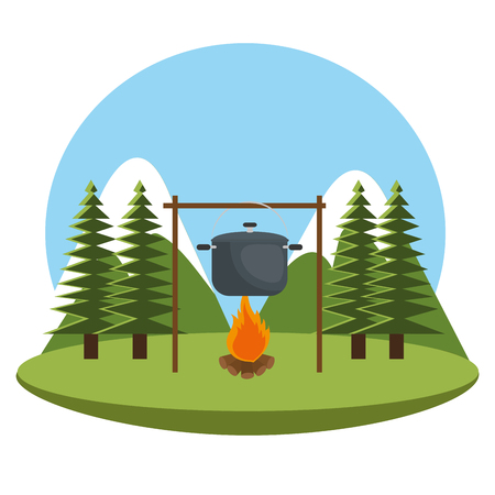 camping zone with pot cooking and campfire vector illustration design