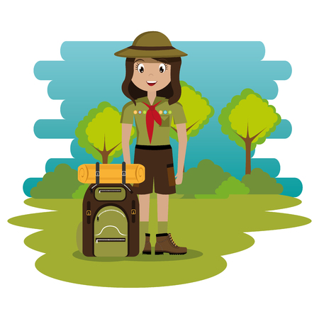 young woman scout in the camping zone scene vector illustration design Banco de Imagens - 115013573