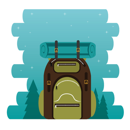 camping zone with bag vector illustration design  イラスト・ベクター素材