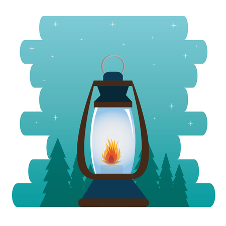 camping zone with lantern vector illustration design Фото со стока - 115013576