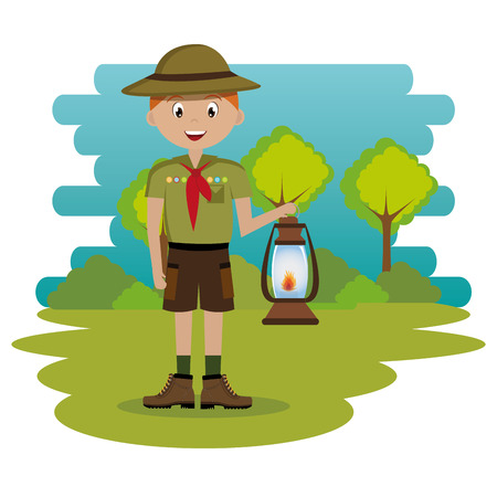 young scout in the camping zone scene vector illustration design Banco de Imagens - 115013577