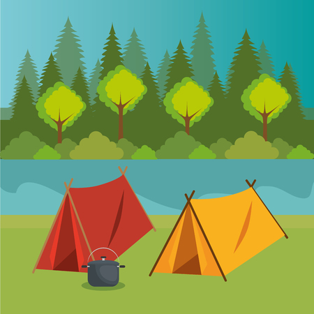 camping zone with tent scene vector illustration design 向量圖像