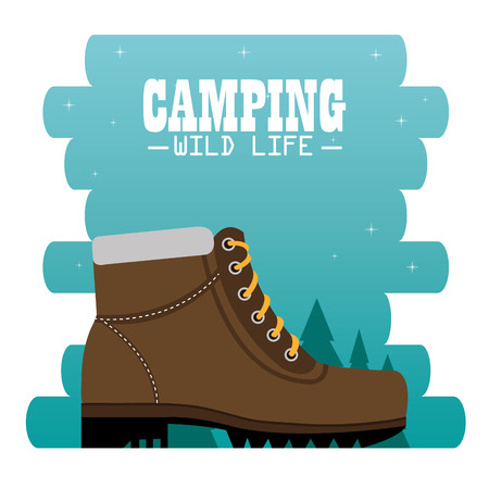 camping zone with boots vector illustration design