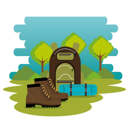 camping zone with equipment vector illustration design 向量圖像