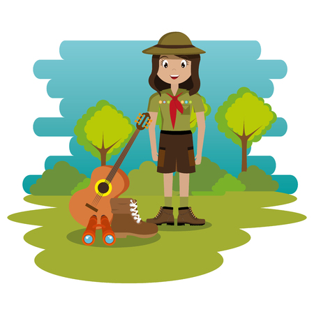 young woman scout in the camping zone scene vector illustration design Иллюстрация