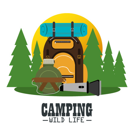 camping zone with equipment vector illustration design Illustration
